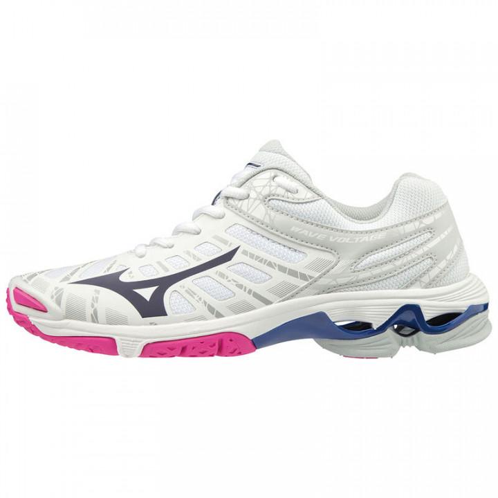 Женские волейбольные кроссовки Mizuno Wave Voltage (White/Pink)