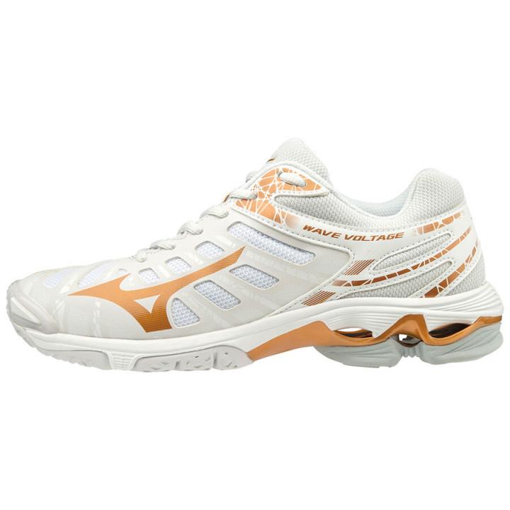 Женские волейбольные кроссовки Mizuno Wave Voltage (White/Gold)